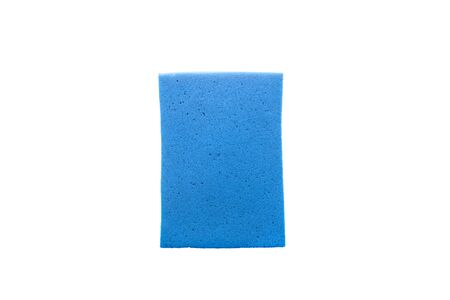Blue cleaning sponge. Cleaning Products and Supplies.