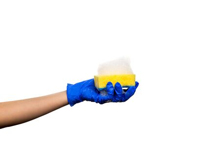 Hand in a blue glove with a yellow sponge and soapy foam. Cleaning Products and Supplies. Isolated white background