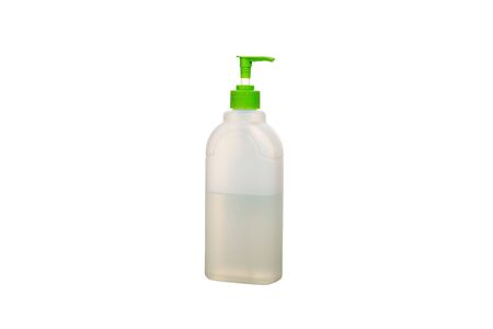 Plastic white bottle dish soap turned left. Cleaning Products and Supplies. Isolated white background Фото со стока