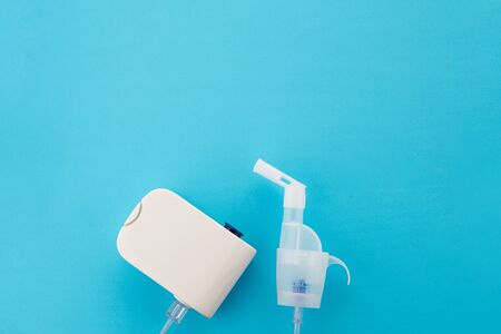 Top view of the electronic device steam generator for home treatment of bronchial diseases. The modern nebulizer Stock Photo