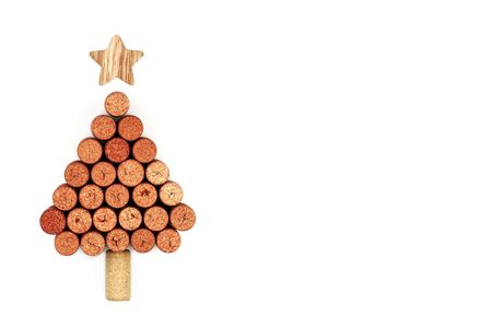 Wine corks shaped Christmas tree. Print illustration for restaurant decor. Top view with copy space white background isolated