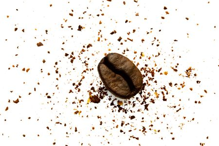 The only coffee bean on the ground coffee. Isolated on a white background Imagens