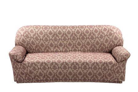 Triple brown sofa isolated on a white background. The cover on the furniture. Textured fabric with abstract patterns