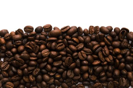 A wide strip at the bottom of many coffee beans. Isolated on a white background