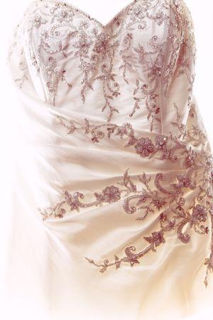 highkey: closeup detail on a wedding dress Stock Photo