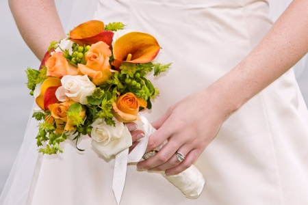 orange and green wedding bouquet Banque d'images