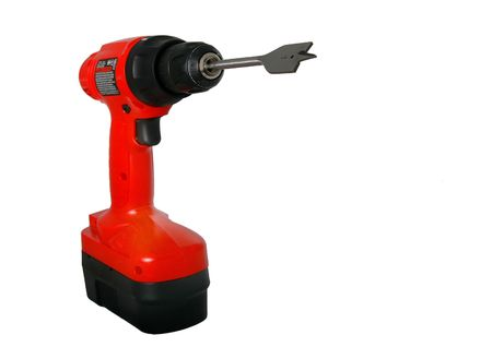 isolated red drill with bit Stock Photo