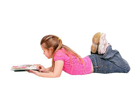 girl lying down: caucasian chica joven tumbado leyendo un libro aislado en blanco