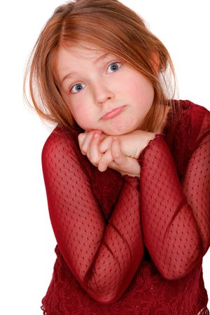 young girl pouting isolated on white