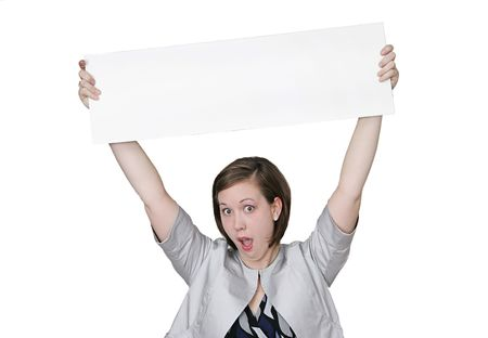 twentysomething: a young caucasian girl holding a blank sign for your message