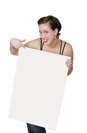 twentysomething: a young woman pointing to a blank sign very expressive
