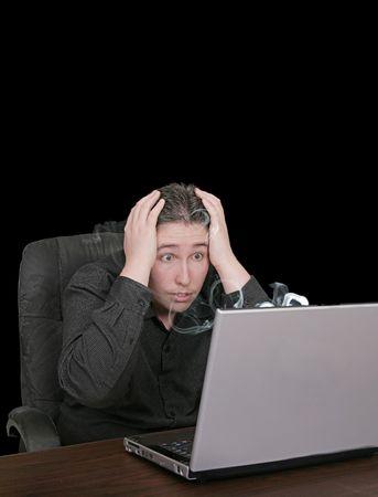 bloke: unhappy man with broken smoking computer with copyspace