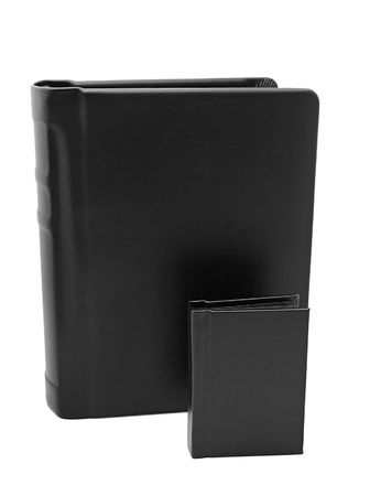 one large and one small black matching books photo