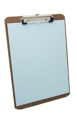 wooden clipboard and blue blank paper photo