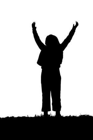 young female child playing and jumping for the camera in silhouette photo