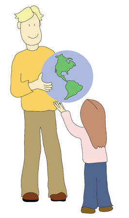 parent handing the earth off to a child Vector