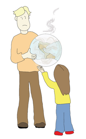 handoff: adult sharing a polluted earth with a child