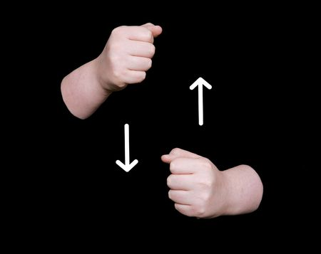 nonverbal communication: the word milk in sign language on a black background Stock Photo
