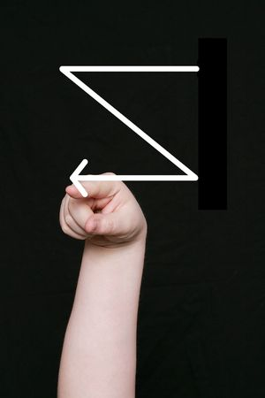 asl: the letter z in sign language on a black background