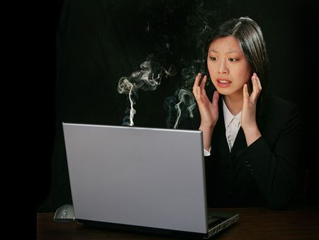 blow up: young attractive asian woman working on a laptop computer