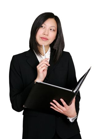 attractive young asian woman making a business decision photo