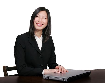 young attractive female asian business person smiling photo