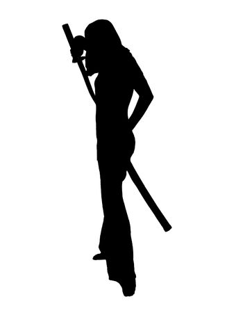 silhouette over white of a female MMA student posing with a sword over white photo