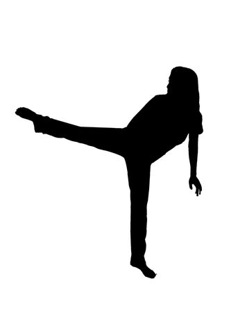 silhouette over white of a female MMA student doing a side kick over white