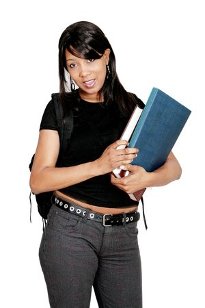 A young female African American student holding books and carrying her backpack over white Stock Photo