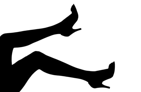 a silhouette of women's legs in high heels over white