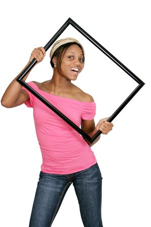 an attractive African American woman wearing pink with a picture frame over white photo