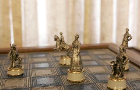 antique: old antique civil war character chess pieces