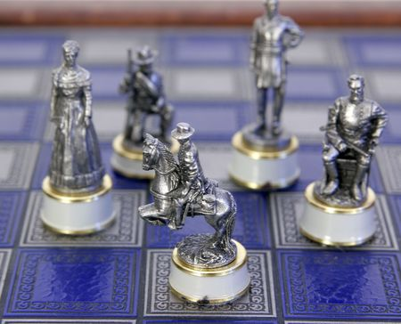 old antique civil war character chess pieces photo