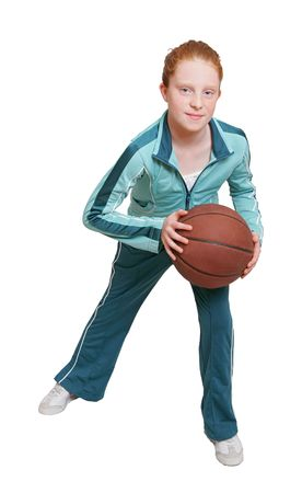 a red headed girl with a brown leather basketball over white Banque d'images
