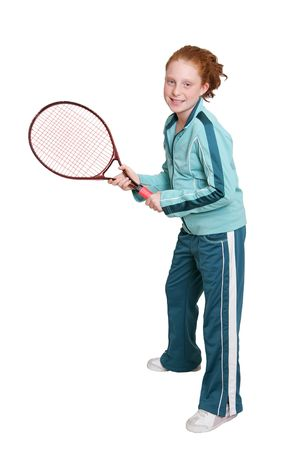 child model: a red headed girl with a tennis racket and ball over white