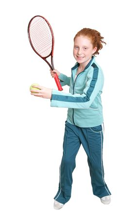 headed: a red headed girl with a tennis racket and ball over white
