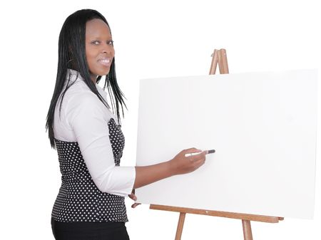 African American adult female giving a business presentation at a seminar over white photo