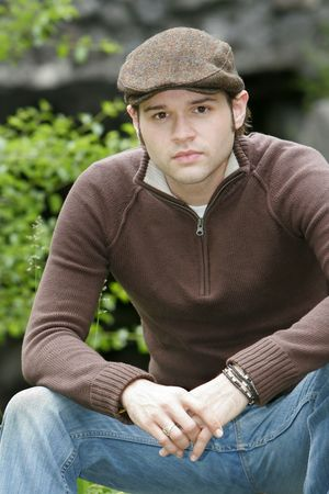 portrait of a young male with brown hair in the park Stock Photo - 3137861