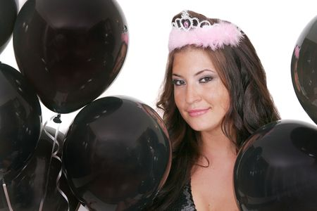 attractive woman with black birthday balloons Stock Photo - 3249186