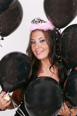attractive woman with black birthday balloons Stock Photo - 3249187