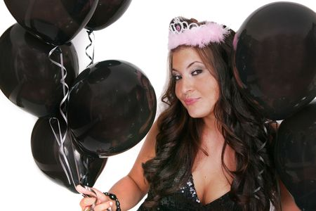 attractive woman with black birthday balloons Stock Photo - 3249188