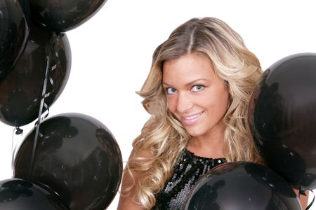 attractive woman with black birthday balloons Stock Photo - 3249184