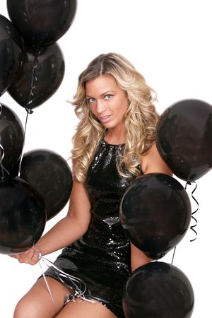 attractive woman with black birthday balloons Stock Photo - 3249185