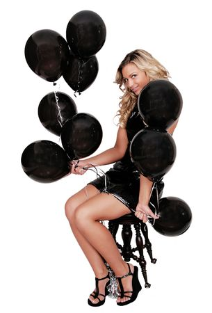 attractive woman with black birthday balloons Stock Photo - 3249165