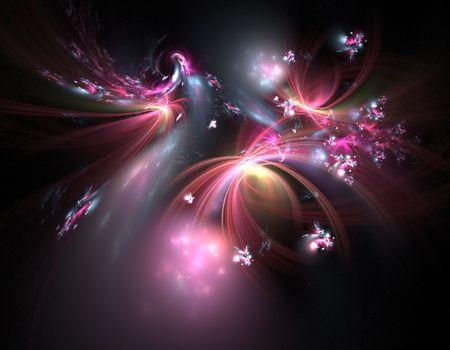 a multicolored fractal illustration wallpaper over black illustration
