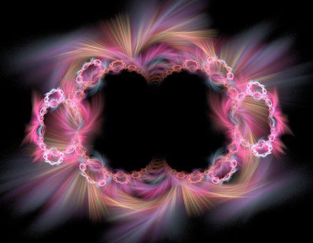 a colorful purple fractal illustration for frame or wallpaper over black