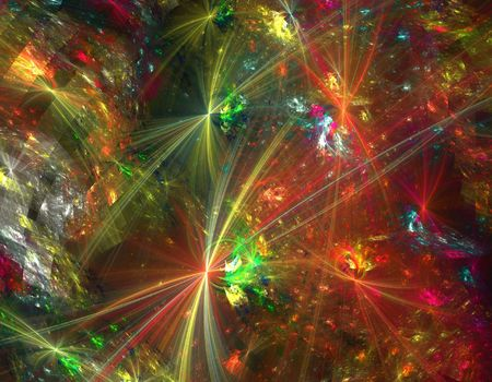 colorful abstract chaotic fractal design over black photo