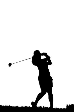 silhouette of a female golfer swinigng her clubs  photo