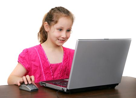 one female child working on a laptop computer over white