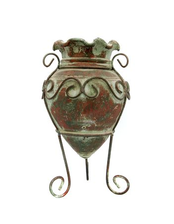 antique vase: a brown and green antique vase over white Stock Photo